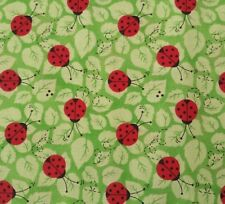 Charms Patty Reed Fabric Traditions BTY Red Lady Bugs on Tonal Green Leaves