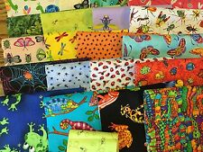 "Awesome BUG JAR Quilt Fabric Kit - 20 6""x9"" bugs pieces spiders roaches ladybugs"