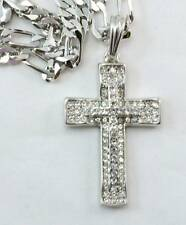 ICED OUT CZ Silver Cross BLING HIP HOP PENDANT 24''CHAIN JEWELRY NECKLACE #j478