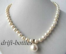 19'' 8mm Round White Freshwater Pearl Shell Pearl Pendant Necklace