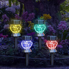 4PC Cambio de Color Vidrio Energía Solar Acero Inoxidable Estaca Luces de Jardín