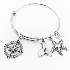 Compass Whale Tail Starfish Adjustable Wire Bangle Bracelet 2 Loop Silver