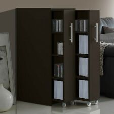 Bookcase Storage Cabinet 2 Rolling Shelves CD DVD File Book Organize Home Office