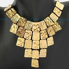 Vintage Golden Chain Square Slice Piece Pendant Big Bib Lady Hot Necklace