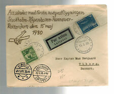1930 Stockholm Sweden First Flight cover to Copenhagen Denmark FFC Cinderella