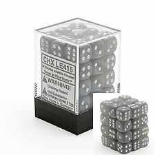 Chessex Dice d6 Set 12mm Frosted Smoke w/ White Pips 36 Die Six Sided CHX LE415
