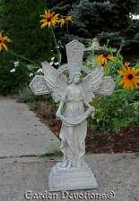 """Ornate 15"""" GARDEN ANGEL CROSS MEMORIAL STATUE May You Always Be Blessed OUTDOOR"""