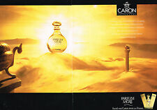PUBLICITE ADVERTISING 094  1991  CARON   parfum femme SACRE  ( 2 pages)