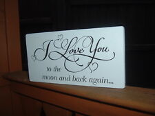 shabby vintage chic I love you to the moon and back sign plaque 8x4 xmas gift