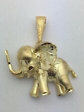 New 14K Yellow Gold 3D Standing Elephant Good Luck Charm Pendant 3.9 g Jewelry S