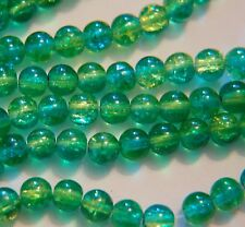 BARGAIN ~ 1 strand 2-tone CRACKLE GLASS Round Beads ~ 6mm ~ Green Yellow ~ 38cm