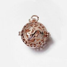 Rose Gold OHM & Peace Sign Harmony Ball Open 25mm Hinged Bead Cage Drop Pendant