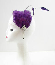 Silver Purple Peacock Feather Headband Vintage 1920s Headpiece Fascinator 845
