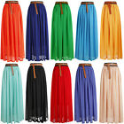 NEW WOMEN LADIES ELASTIC WAIST BAND PLEATED CHIFFON LONG MAXI SKIRTS –lng skt