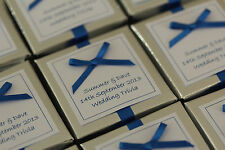1 x handmade personnalisé argent & royal bleu faveur boîtes-toute quantité tout design