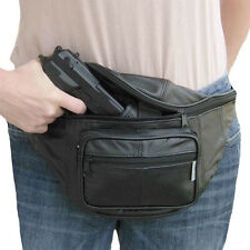 Leather CCW Concealed Fanny Pack w/ Gun Holster, Mens Waist Belt Bag Gun Holder