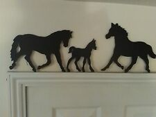 3 Horses  Door Topper wooden Silhouette Wall Art Easy Fix /plaques Signs/Gift