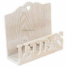 Shabby Chic Wooden Letter Rack Vintage Style Brown Holder Mail Organiser Tray
