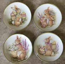 BUNNY TALES EASTER DESSERT PLATES SET 4  CERTIFIED INTERNATIONAL