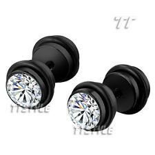 TTstyle Surgical Steel Round Cheater Fake Ear Plug Earrings A Pair Two Color