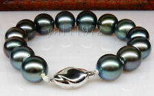 pretty 10-11mm AAA tahitian round black peacock pearl bracelet 7.5-8inch