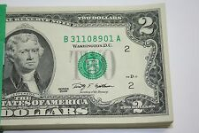 100 New Uncirculated  2  Two Dollar Bills BEP Pack FRB New York