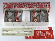 Set of 4 Miniature Porcelain Oriental Koi Fish Figurines In Box