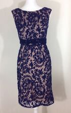 ADRIANNA PAPELL Blue Lace Overlay Sheath Dress Cocktail Party Women Size 4