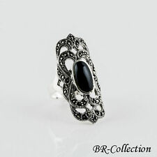Attractive Sterling Silver Ring with Black Onyx & Swiss Marcasite