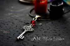 'Dragon's Soul' Silver Key Necklace Red Stone Vampire Jewellery Gothic Alchemy