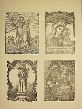 Antigua xilografía impresión ~ diversas religioso medieval imagen Mary Santos