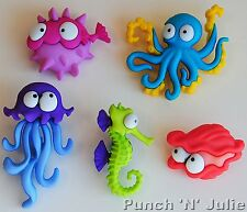 CREATURES OF THE SEA - Ocean Sealife Octopus Seahorse Dress It Up Craft Buttons
