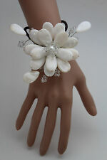 Women Bracelet White Beads Big Flower Charm Elastic Cuff Band Fashion Jewelry
