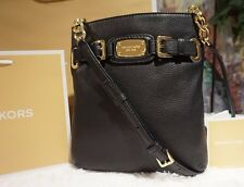 NWT Michael Kors HAMILTON LG. Crossbody Shoulder Bag, BLACK Pebbled Leather $198
