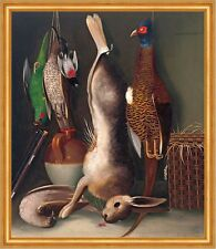 Still life with game William Buelow Gould Jagd Beute Vögel Hase Tod B A2 03486