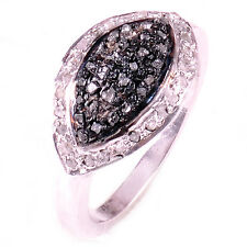 1.12 ct BLACK & RAW REAL WHITE NATURAL DIAMOND .925 SILVER RING SIZE 8