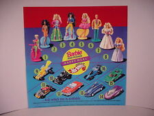 McDonald's Store Display Sign translite 1994 Barbie Hot Wheels Toys Happy Meal