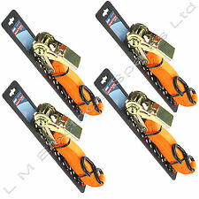 4 x Quality Heavy Duty Ratchet Tie Down Cargo Straps Trailer Hooks 25mm - 5m