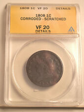 Classic Head Large Cent 1808 VF 20 Details Graded by ANACS