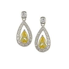 3CTW PAVE+YELLOW CANARY CUBIC ZIRCONIA OPEN HALO TEAR DROP RHODIUM EARRINGS