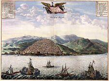 Birds EYE vista de Algier en 1600s antiguo mapa antiguo plan de imágenes de gran tamaño póster Nuevo