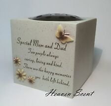Memorial For Special Mum & Dad Grave Flower Vase Pots Ornament Funeral Rose Bowl
