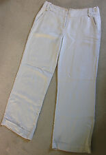 COLLECTIONS at GEORGE Beige Pure Linen Wide Straight Leg Trousers Size14 Tall EC