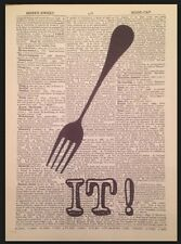 Kitchen Vintage Cutlery Print Dictionary Page Wall Art Picture Fork It Funny