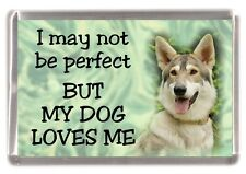 "Inuit Dog Fridge Magnet ""I may not be perfect BUT MY DOG LOVES ME"" by Starprint"