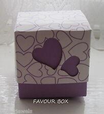 {10} MAUVE HEART WEDDING/BABY FAVOUR BOXES