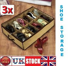 3x12 pair Under Bed Shoe Organiser Storage Holder Shoe Box Tidy Bag Rack Pockets