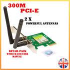 300Mbps Wireless N PCI-E PCIe Network Card LAN Adapter PC Desktop - 2 x Antennae