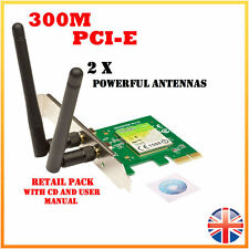 300Mbps Wireless N PCI-E PCIe Scheda Di Rete LAN Adattatore PC Desktop 2 x