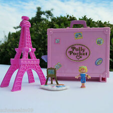 Mini Polly Pocket in Paris 100% Komplett Koffer Staffelei Eiffelturm Hut Tasche